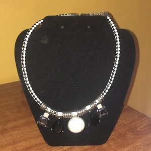Black and White Checkered Statement Necklace